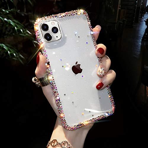 OcaseQ Funda para iPhone 12/12 Pro/12 Pro MAX Carcasa Transparente de Lujo con Purpurina Bumper de Diamantes de Imitación Anti Choque de TPU Suave Ultra-Thin Brillo Bling Back Cover,Clear,7plus/8plus