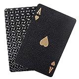 BELLE VOUS Baraja Cartas - Baraja de Poker Impermeable Negras - Juegos de Cartas Estándar Profesional con Caja Fiestas y Juegos