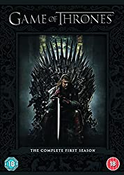 Promotional image for Game of Thrones showing Sean Bean seated on throne with sword