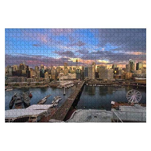 Sydney Australia December 20 2016 Sunset of Darling Harbour 1000 Piece Wooden Jigsaw Puzzle DIY Children Educational Puzzles Adult Decompression Gift Creative Games Toys Puzzles Home Decor