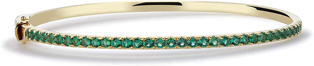Stacking Emerald Bangle Yellow Gold With Double Saftey Lock Clasp