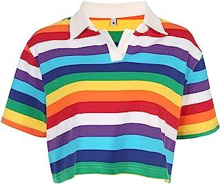 Sunenjoy Haut Arc en Ciel Rayure Imprim/é Tops Doux Confortable Mignon Casual Sport pour Enfant 1-7 Ans B/éb/é Gar/çon Fille T-Shirt Manches Courtes