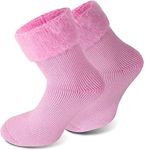 Polar Husky® 3 Paar Sehr warme Socken mit Vollplüsch & Schafwolle/Nie wieder kalte Füße! Farbe Extrem Hot – Rosa Größe 43-46
