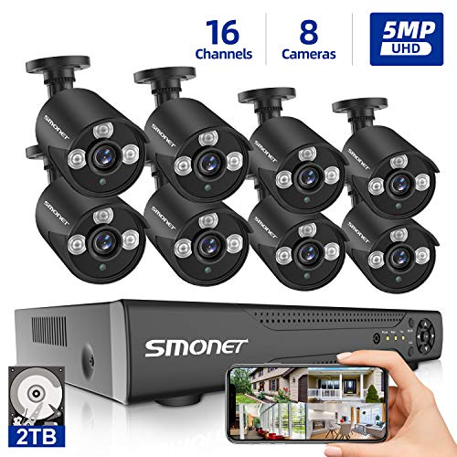 Great Deal! 【16 Channel 5MP】16 Channel Security Camera Systems, SMONET 5-in-1 DVR Video Surveill...
