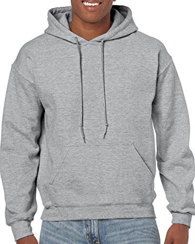 Gildan Men's Heavy Blend Fleece Hooded Sweatshirt G18500, Sport Grey, Large