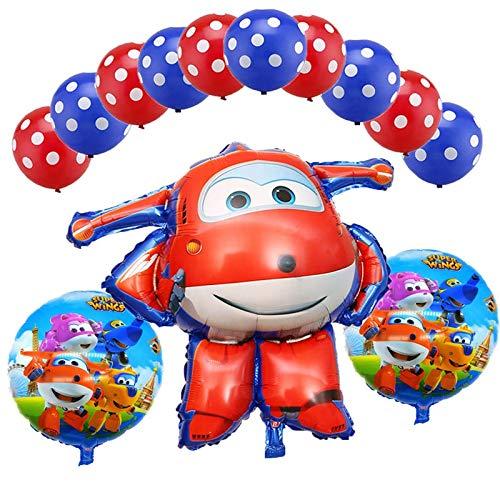 BAYUE Globos 13 Unids / Set Super Wings Jett Balloon Foil Super Wings Juguetes Fiesta de cumpleaños Globos de Helio Decoraciones Juguetes for niños Suministros ( Color : Red 4 )