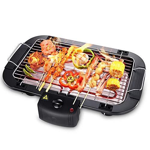Meijubol Elektrogrill Tischgrill 2000W Smokeless Elektrischer Grill, Grillfläche 38x22cm Abnehmbarer Fettauffangschale, Thermostat, BBQ Grill für Balkon Outdoor Party, Schwarz
