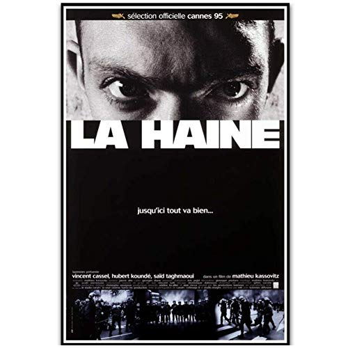 NRRTBWDHL La haine 1995 Klassischer Vintage Film Film Kunst Poster Leinwand Malerei Wohnkultur Poster und Drucke Druck auf Leinwand-50x70cm Kein Rahmen