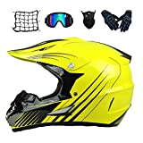 MRDEAR Casco Motocross Niño Casco Cross Eduro Casco Moto MX Off-Road ATV Scooter con Gafas/Máscara/Guantes/Red Elástica, D.O.T Certificado, Amarillo (S, M, L, XL),M