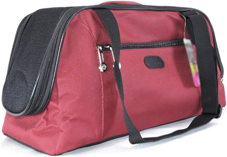 Pet Backpack Foldable Outgoing Carrying Case Shoulder Bags Handbag Dog Bags Cat Cage (color   Red, Size   L)