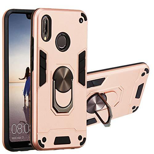 JZ [2 em 1] [Anel de rotação de 360 graus] Capa protetora para celular com suporte para Huawei P20 Lite/Nova 3e - Ouro rosa