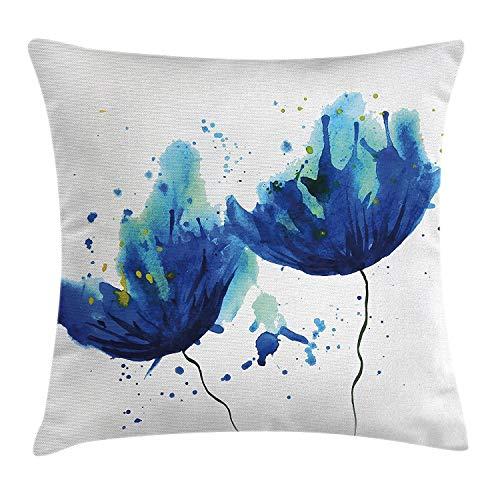 Funda de cojín azul con efecto de acuarela, decoración floral abstracta, ilustración de aciano, decoración cuadrada decorativa, azul claro y azul, tamaño: 50 x 50 cm
