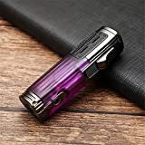 詰め替え式ライター、トリプルフレームトーチ付きシガーライター、シガーパンチ内蔵の防風詰め替え式調整可能ブタンシガーライター、シガーグリル用バーベキューキャンドルキャンプ用(ガスは含まれていません),purple