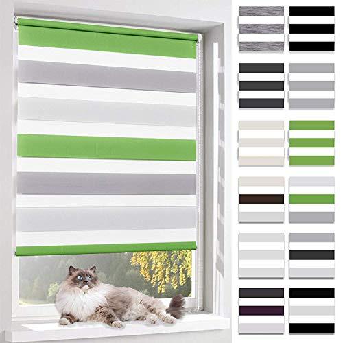 BelleMax Rollo für Tag und Nacht, doppelter Stoff, weiß, Vorhang ohne Bohren, mit Clips, mehrfarbig, 2 Arten von Installation und einfache Montage, Weiß / Grau / Grün, 90x130 cm