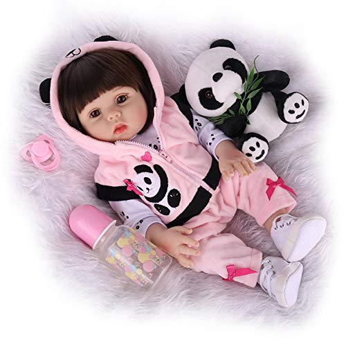 CHAREX Reborn Baby Dolls, 18 Inch Weighted Silicone Full Body Newborn Baby Girl, Realistic Waterproof Reborn Toddler Wearing Panda Clothes
