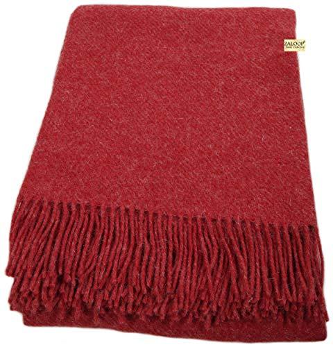 Zaloop Wolldecke 100% Schurwolle in versch. Farben und Größen Schurwolldecke Plaid (dunkelrot, ca. 140 x 200 cm)