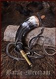 Corno per polvere da sparo con Valvola di chiusura di In ottone e Cinturino pelle
