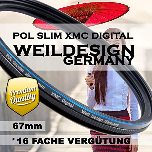 Polfilter POL 67 mm Circular Slim XMC Digital Weil Design Germany SYOOP * Kräftigere Farben * mit Frontgewinde, 16 Fach XMC vergütet * inkl. Filterbox * zirkulare (POL Filter 67mm)