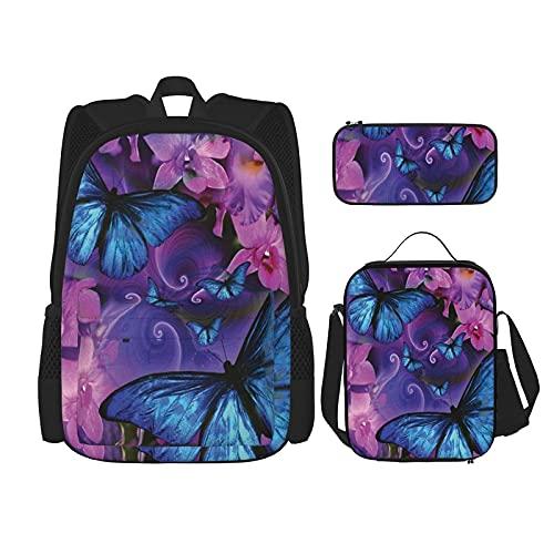 Bloem vlinder Print Rugzak voor Jongens Tieners Boekentas Reizen Dagrugzak, Lunch Bag en Potlood Case combinatie