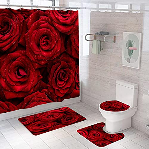 Dunkelroter Duschvorhang Mit Rosendruck 4-Teilig, Duschvorhang Wasserdicht + Badematte + U-Förmige Konturmatte + Toilettensitzbezug + 12 Haken