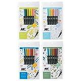 トンボ鉛筆 筆ペン デュアルブラッシュペン ABT 6色セット×4個 ボタニカル/ナチュラル/ノルディック/ファンシー AB-T6CBT/T6CNT/T6CNR/T6CFN 4種4個組み