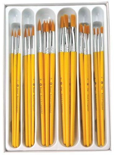 Royal and Langnickel Crafter's Choice - Confezione da 30 pennelli rotondi/piatti con setole in taklon, colore: oro