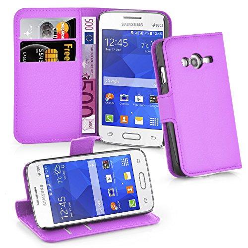 Cadorabo Hülle kompatibel mit Samsung Galaxy ACE 4 LITE Hülle in Mangan VIOLETT Handyhülle mit Kartenfach & Standfunktion Schutzhülle Etui Tasche