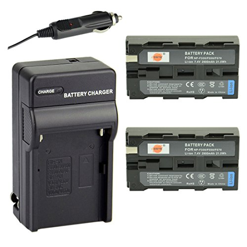 DSTE Replacement for 2X NP-F550 Battery + DC01 Travel Charger Kit Compatible Sony CCD-RV100 SC5 SC9 TR1 Camera CN-160 CN-216 CN-304 YN 300 VL600 LED Video Light as NP-F330 NP-F530 NP-F570