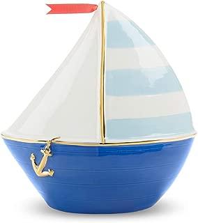 Baby Aspen Nautical Sailboat Porcelain Piggy Bank, White/Navy/Light Blue/red/Gold