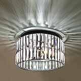 "K9 Crystal Flush Mount Ceiling Lights Fixtures , 11.8"" Galtap Modern Double Layer Crystal Chandeliers 3-Light for Living Room Bedroom Kitchen Island Hallway Dining Room"