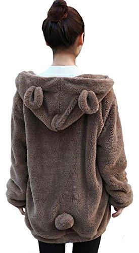 Women Fashion Bear Tail Hoodies,Fluffy Double Velvet Winter Rabbit Ear&Tail Shape Warm Tail Jacket,Long Sleeve Hooded Sweatshirt (Coffee Bear)