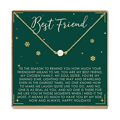 Best Friend Christmas Necklace - Heartfelt Card & Jewelry Gift Set (Pearl)