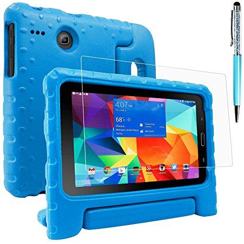 Funda para Samsung Galaxy Tab E Lite 8.0 con Protector de Pantalla y lápices ópticos, AFUNTA Anti-arañazos Convertible Mango Stand EVA Case, PET Película Protectora de Plástico y lápiz táctil