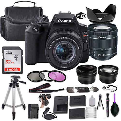 Canon EOS Rebel SL3 DSLR Camera (Black) w/EF-S 18-55mm f/4-5.6 is STM Lens + Wide-Angle and Telephoto Lenses + Portable Tripod + Memory Card + Deluxe Accessory Bundle
