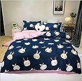 HDBUJ Kleiner Dunkelblauer Bettbezug Mit Weißem Kaninchenmuster, Mit Reißverschluss, Mit Zwei Kissenbezügen, Weicher Polyesterbettwäsche, Leicht Zu Reinigen 220X260Cm