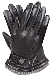 Best Gloves For Driving In Winter - Warmen Men's Texting Touchscreen Napa Leather Driving Gloves