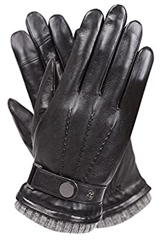 Men s Texting Touchscreen Winter Warm Sheepskin Leather Daily Dress Driving Gloves Wool/Cashmere Blend Cuff  9 Black  Cashmere&Woo Blend Lining
