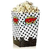 Blue Panda Superhero Comic Theme Mini Popcorn Party Favor Boxes (100-Count) - Contenedores de...