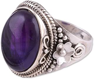 NOVICA Amethyst .925 Sterling Silver Cocktail Ring 'Paradise Found'