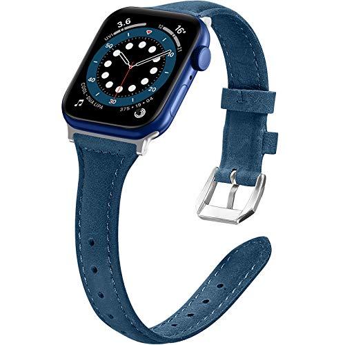 LORDSON Cuero Correa Compatible con Apple Watch 38 mm 40 mm Pulseras, 5.5 '-8.5' Correa Delgada de Repuesto Compatible con iWatch Serie 6 5 4 40 mm / Serie 3 2 1 38 mm para Mujeres Hombres