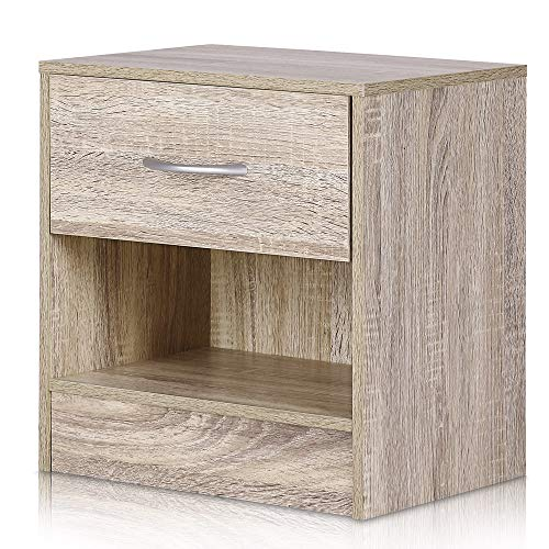 Deuba Nachttisch mit Schublade und Ablagefach 41 x 39 x 28 cm Holz Nachtkommode Nachtkonsole Nachtschrank Schlafzimmer - Eiche