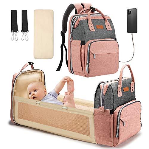 Yoofoss Mochila Pañales para bebes Mochila Cuna Portátil Bolsos cambiadores Gran Capacidad Mochila Bebe Pañales con un Puerto de Carga USB y 2 Correas Ganchos Gris Y Rosa