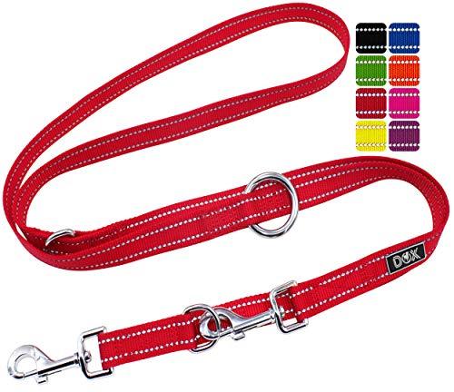 DDOXX Hundeleine Nylon, reflektierend, 3fach verstellbar, 2m | für kleine & große Hunde | Doppel-Leine Zwei Hund Katze Welpe | Schlepp-Leine | Führ-Leine | Lauf-Leine Welpen-Leine | S, Rot