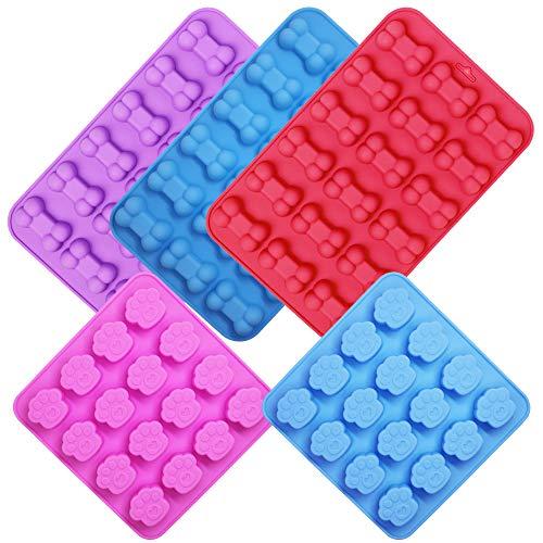 YuCool Silikon-Formen für Hundepfoten, Knochen, Antihaft, Lebensmittelqualität, für Schokolade, Süßigkeiten, Gelee, Eiswürfel, Hunde-Leckerlis, 5 Stück