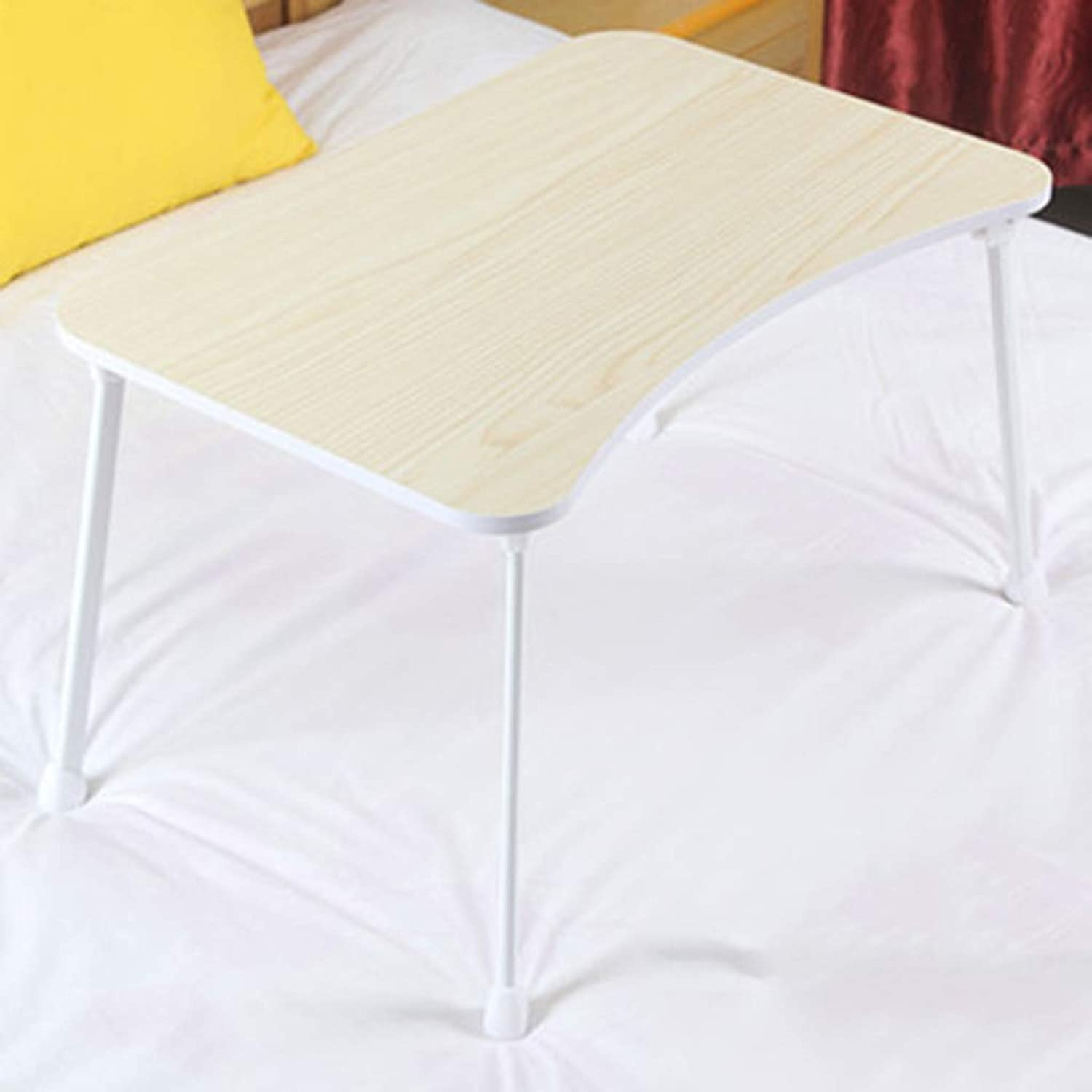 Folding Table Creative Bed Lazy Foldable Small Table Bedroom College Dormitory Laptop Desk (color   White)