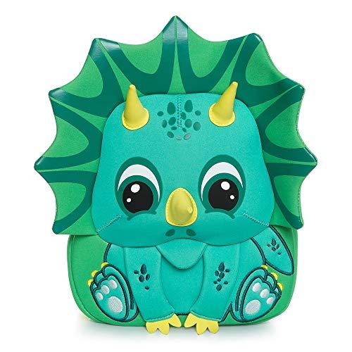 Cocomilo - Zaino per bambini con motivo animaletto, impermeabile, con cinghia di sicurezza, per viaggi e scuola all'aperto Dinosauro verde. 21*26*11cm