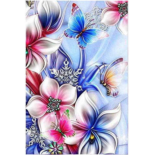 5D Full Drill Diamond Painting Kit, KISSBUTY DIY Diamond Rhinestone Painting Kits for Adults and Beginner Diamond Arts Craft Home Decor, 15.8 X 11.8 Inch (Flower Butterfly Diamond Painting)