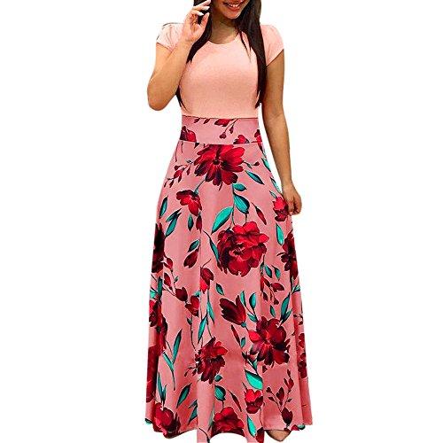 FRAUIT zomerjurk dames bloemenprint boho maxi-jurk patchwork lange jurken hoge taille elastische strandjurken korte mouwen jurk cocktailjurk elegant wondermooie kleding