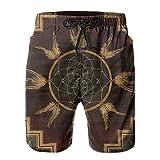 ZORIN Bañador para hombre con diseño de atrapasueños indígenas geométrico vintage de secado rápido, atlético con forro de malla y bolsillos, blanco, XL