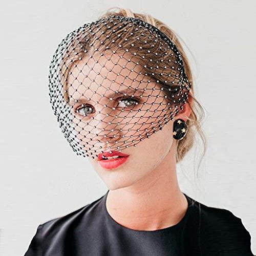 Coiffes de Mariée Accessoires pour cheveux voile, perles de cristal de mariée de mariage, masque facial, voile accessoires de cheveux Accessoires de Mariée (Color : Black)
